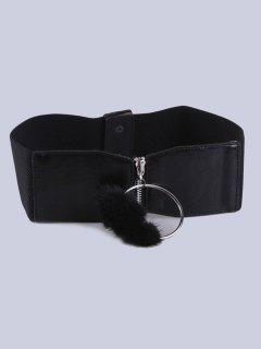 Zip Circle Decorative Coat Wear Elastic Wide Belt - Black