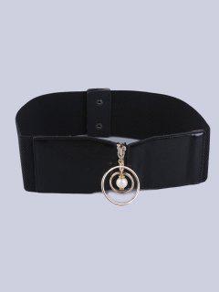 Coat Wear Faux Pearl Circle Button Buckle Elastic Belt - Black
