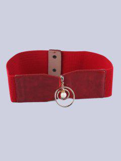 Coat Wear Faux Pearl Circle Button Buckle Elastic Belt - Red