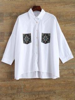 Bordado Camisa De Gran Tamaño Con Los Bolsillos - Blanco S