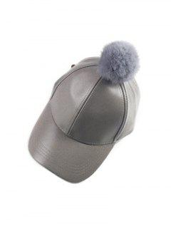 Hip Hop Faux Leather Pompom Baseball Hat - Gray