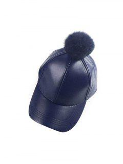 Hip Hop Faux Leather Pompom Baseball Hat - Cadetblue