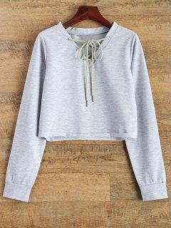 Lace Up Cropped Sweatshirt - Gray Xl