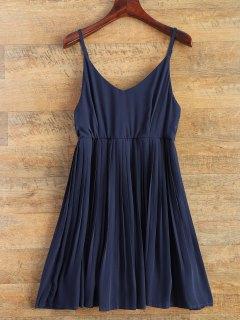 Robe Plissée En Mousseline De Soie à Bretelles Fines - Bleu Violet S