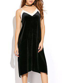 Mesh Trim Velvet Cami Dress - Black L