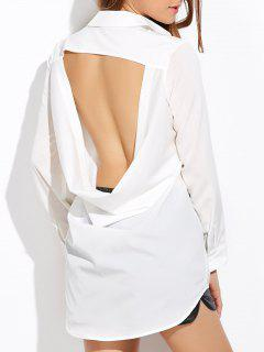 High Low Cut Out Shirt - White M