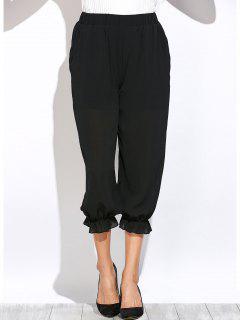 Pantalon Lanterne Transparent à Taille élastique - Noir S