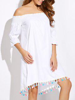 Off Shoulder Tassel Smock Dress - White S