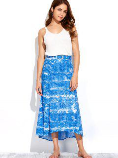 Printed Maxi Skirt - Blue And White Xl