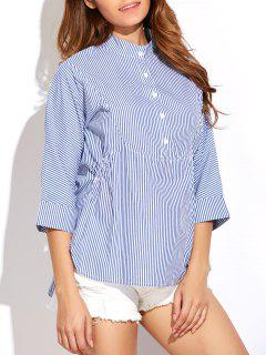 Striped Buttoned Oversized Blouse - Blue And White 2xl