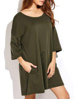 Dropped Shoulder Relaxed Tunic Dress - Army Green 2xl
