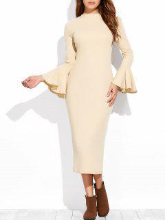 Bell Sleeve Midi Pencil Dress - Apricot L