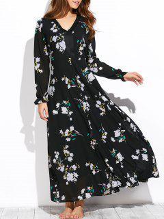 Flowy Printed Long Sleeve Maxi Dress - Black S