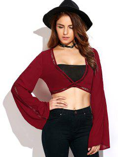 Ladder Crochet Flare Sleeve Crop Top - Red S