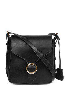 Buckle PU Leather Cross Body Bag - Black