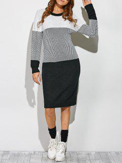 Contrast Trim Sweater Dress - White And Black