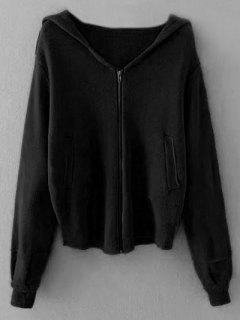 Zippered Hooded Cardigan - Black