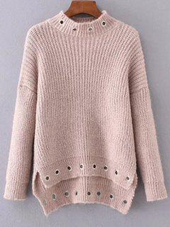 High Low Ring Embellished Ribbed Sweater - Nude Pink