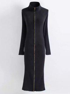 Vestido Ajustado De Punto Con Cremallera - Negro S