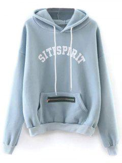 Zipper Embellished Sitispirit Hoodie - Light Blue