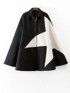 Cashmere Pentagram Print Cape Coat - Black S