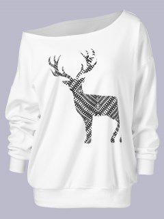 Plus Size Wapiti Print Skew Collar Sweatshirt - White Xl