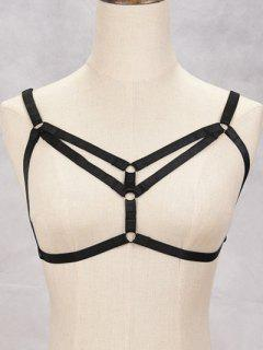 Bra Hollowed Bondage Harness Body Jewelry - Black