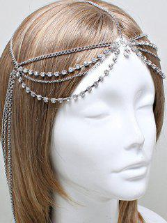 Layered Rhinestone Forehead Chain - Silver