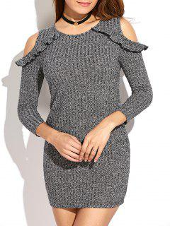 Cold Shoulder Flounce Mini Sweater Dress - Gray S