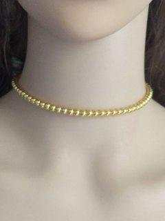 Vintage Alloy Beaded Necklace - Golden