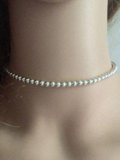 Vintage Alloy Beaded Necklace - Silver