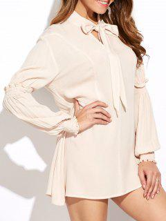 Lantern Sleeve Keyhole Mini Dress - Off-white L