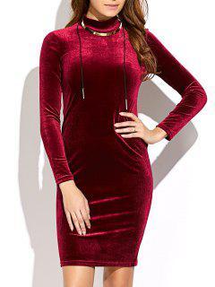 Mock Neck Velvet Mini Bodycon Dress - Wine Red