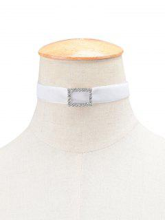 Geometric Rhinestone Velvet Choker Necklace - White
