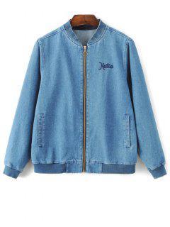Floral Embroidered Denim Bomber Jacket - Denim Blue S