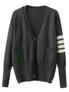 V Neck Striped Sleeve Cardigan - Gray L