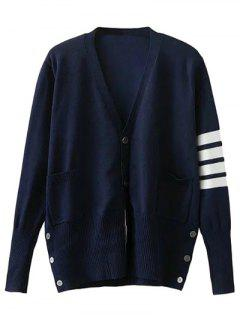 V Neck Striped Sleeve Cardigan - Cadetblue S