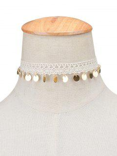 Adorn Lace Sequins Choker Necklace - White
