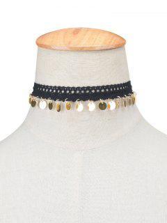 Adorn Lace Sequins Choker Necklace - Golden