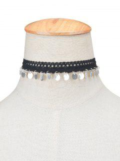 Adorn Lace Sequins Choker Necklace - Silver