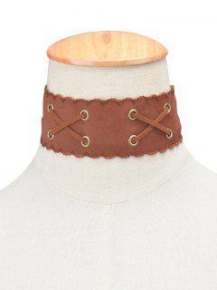 Adorn Artificial Leather Velvet Choker - Brown