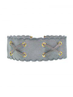 Adorn Artificial Leather Velvet Choker - Gray