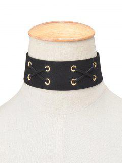 Adorn Artificial Leather Velvet Lacing Choker - Black