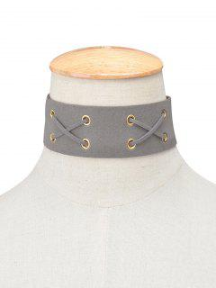 Adorn Artificial Leather Velvet Lacing Choker - Gray