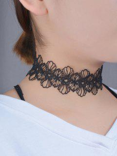 Lace Flower Hollow Out Choker - Black