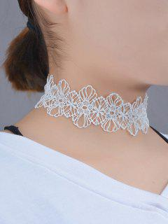 Lace Flower Hollow Out Choker - White