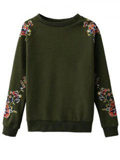 Floral Embroidered Raglan Sweatshirt - Green S