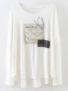 Camiseta Suelta Manga Larga  - Blanco S