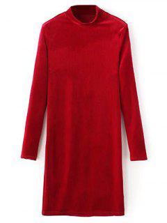 Medio Cuello Del Vestido Largo De Terciopelo Mangas - Rojo S