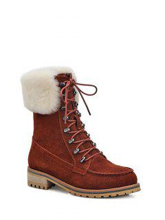 Tie Up Metal Faux Fur Short Boots - Dark Auburn 38